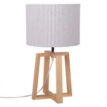 Lampe en hévéa et abat-jour imprimé à rayures