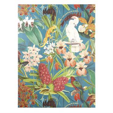 Succombez à l'exotisme de la toile peinte décor tropical 90x120 CESARIA . Végétation, oiseaux, reptile et insectes, se parent de leurs plus belles couleurs pour contribuer à une ambiance exotique ...