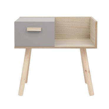 Table de chevet 1 tiroir coloris gris et naturel