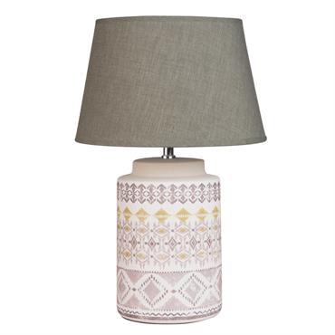 Lampe en céramique blanche motifs ikat abat-jour gris