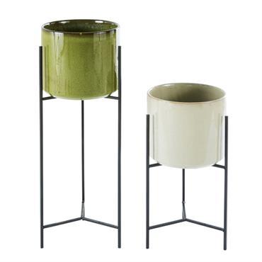 Cache-pots en céramique beige et verte H65