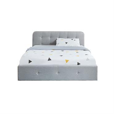 Lit coffre sommier à lattes et tête de lit 160x200 gris clair