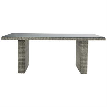 Table de jardin en verre trempé et résine tressée grise L 200