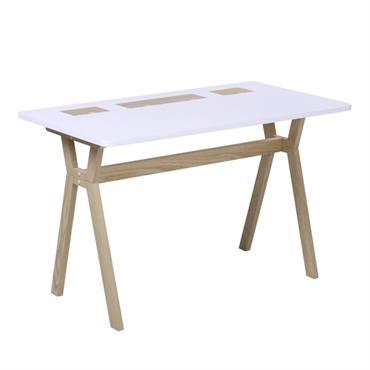 Bureau scandinave 120 cm bois et blanc