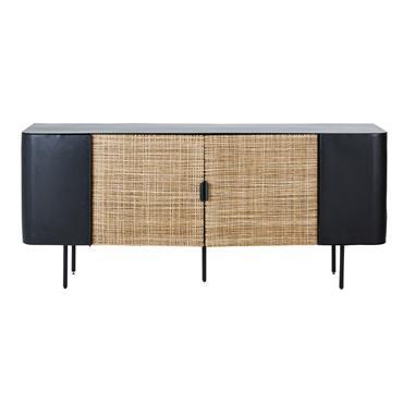 Le buffet 4 portes en métal noir et cannage en rotin KIRIMBI mélange habilement le style vintage et le style exotique. Grâce à son originalité, son élégance et ses lignes ...