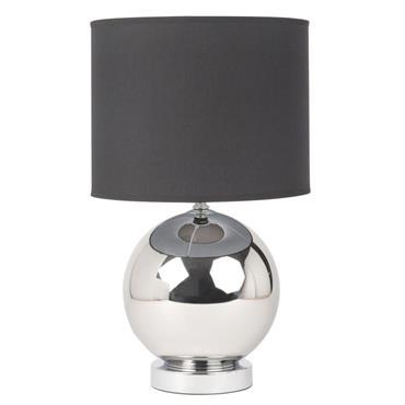 Lampe boule en métal argenté et abat-jour noir