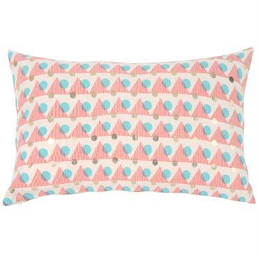 Housse de coussin en coton motifs triangles et cercles 30x50