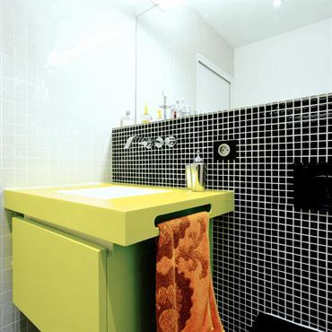 Un meuble vasque en Corian vert  Domozoom