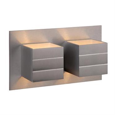 Applique murale 2 lumières métal argent L26cm