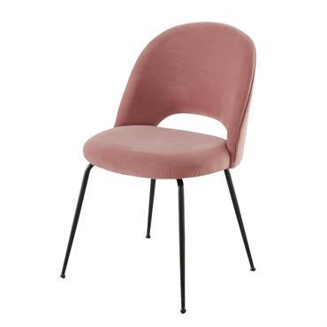 Faites-vous plaisir en dénichant la chaise en velours rose et métal noir ISYS . Un design vintage sophistiqué, un revêtement tout doux en velours rose, des courbes à damner qui ...