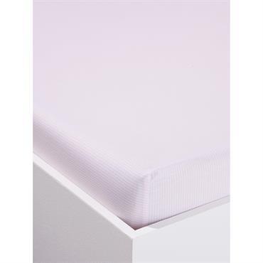 Drap-housse rayé en coton rayé rose