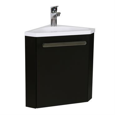 Meuble lave-mains d'angle Noir