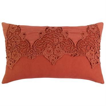 Coussin en coton terracotta motifs brodés 30x50