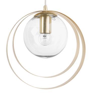 Suspension boule en verre et cercles en métal doré