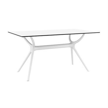 Table à manger blanche intérieur/extérieur 140 cm