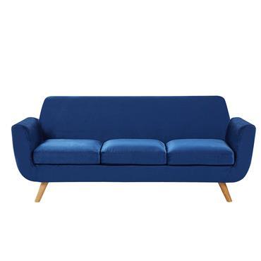 Canapé 3 places en velours bleu marine housse amovible