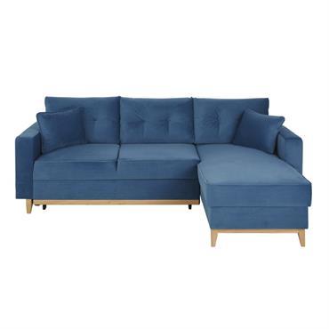 Canapé d'angle convertible 4/5 places bleu