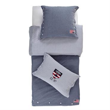 Parure de lit en chambray de coton bleu 140x200 PRINCETON