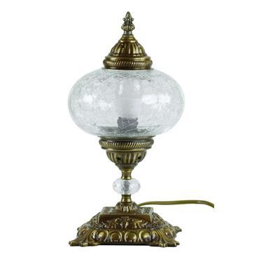 Les lampes de chevet orientales associent laiton travaillé et verre craquelé, coloré ou mosaïque.  Domozoom