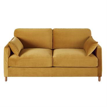 Canapé-lit 3 places en velours jaune moutarde