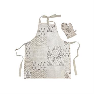 Tablier et gant de cuisine enfant en coton beige