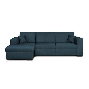 Canapé d'angle gauche convertible en tissu bleu
