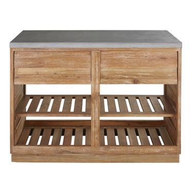 Meuble bas de cuisine d'extérieur 2 tiroirs en acacia massif et béton