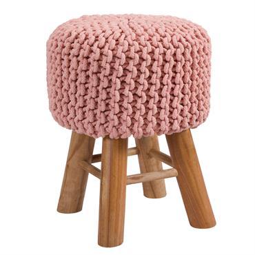 Tabouret tricot en coton rose poudré