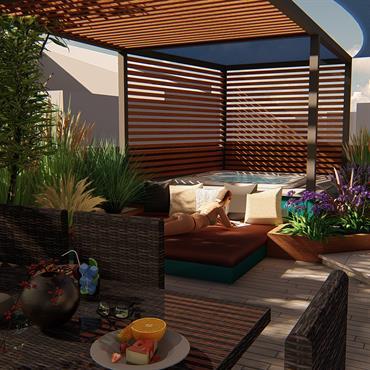 Projet d'aménagement d'un jardin avec un espace piscine à débordement et un espace spa, le tout sur une terrasse convivial  Domozoom