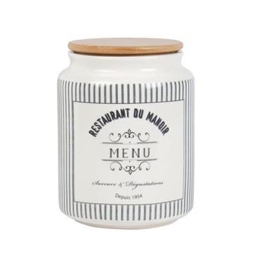 Bocal en porcelaine imprimée couvercle en bambou H18