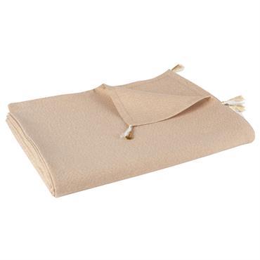Nappe à pompons en coton beige irisé 150x250