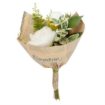 Bouquet de fleurs artificielles dans papier Kraft