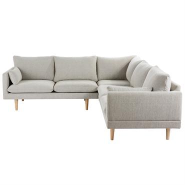 Canapé d'angle 5 places gris clair Collins