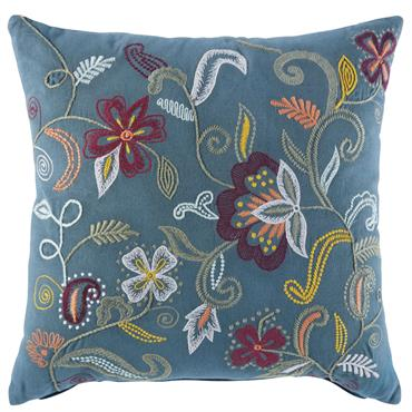 Coussin en coton bleu canard motifs brodés 45X45