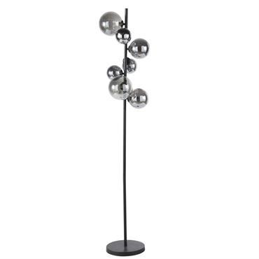 Lampadaire 7 globes en verre fumé et métal noir H155