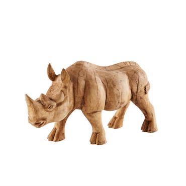 Statuette rhinocéros en manguier sculpté H28