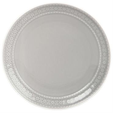 Assiette à dessert en faïence grise motifs floraux