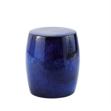 Tabouret en céramique émaillée bleue