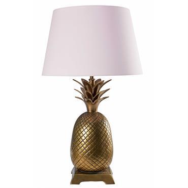 Lampe ananas en métal doré et coton rose FIRENZE