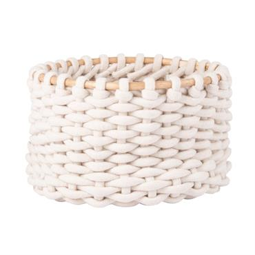 Panier en coton crochet ivoire et rotin