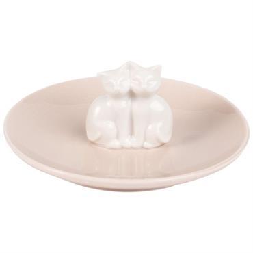 Coupelle à bijoux chats en porcelaine rose et blanche