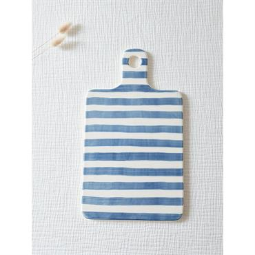 Planche à découper céramique rayée blanc rayé bleu