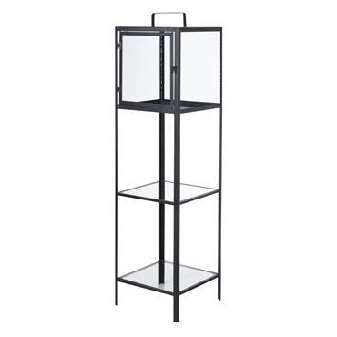 Lanterne en métal noir 2 étagères en verre