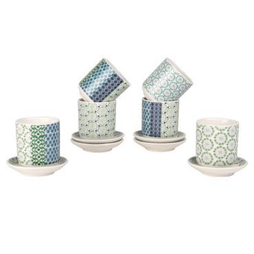 Coffret 6 tasses en porcelaine avec soucoupes à motifs