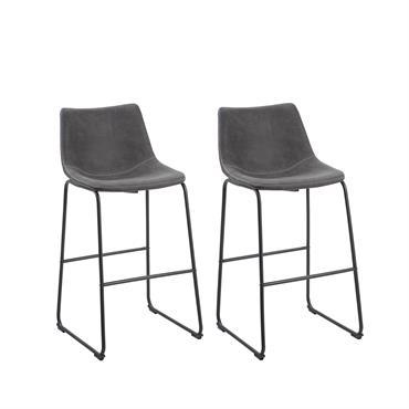 Lot de 2 chaises de bar en tissu gris