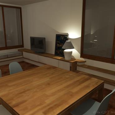 Agencement filant multifonction, comprenant notamment un accès à la terrasse, un meuble multimédia, une banquette et divers meubles de rangement. ... Domozoom