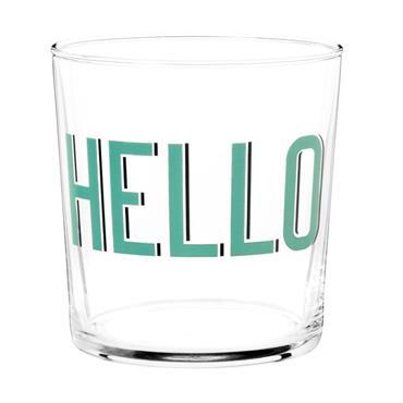 Gobelet en verre imprimé inscription verte