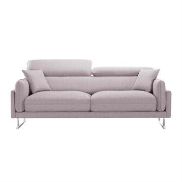 Canapé 3 places toucher lin rose poudré