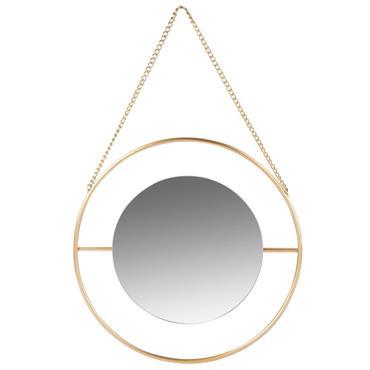 Miroir rond en métal doré mat D12