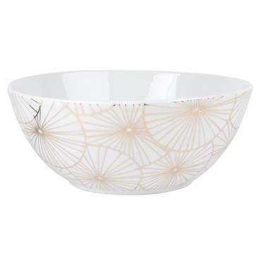 Saladier en porcelaine blanche motif floral doré